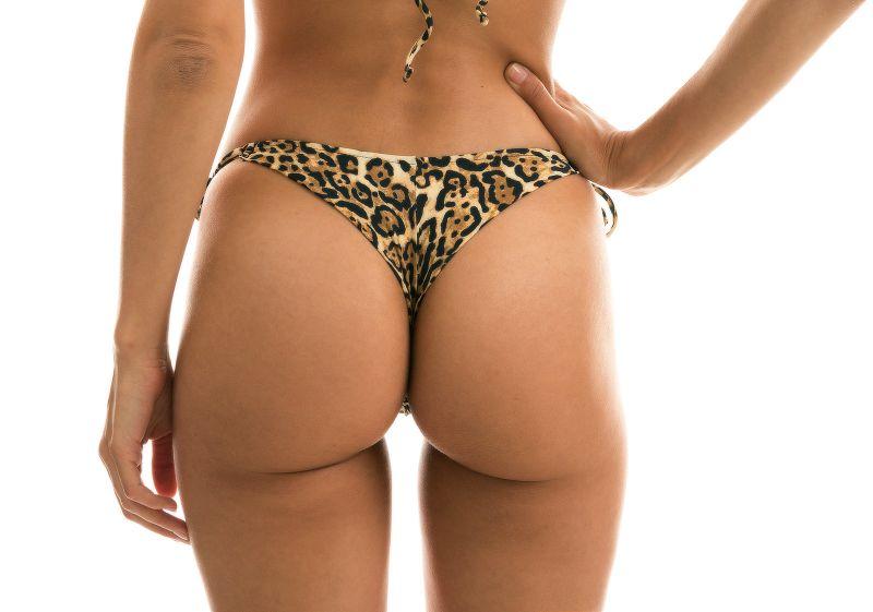 Accessorized side-tie leopard print thong bikini bottom - BOTTOM LEOPARDO INVISIBLE MICRO