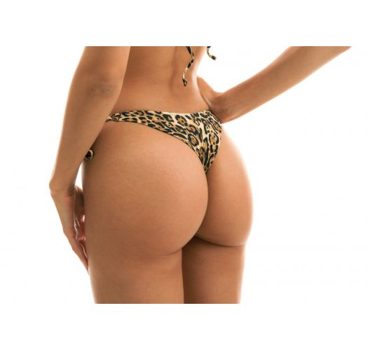 Accessorized side-tie leopard print thong bikini bottom - BOTTOM LEOPARDO INVISIBLE MICRO