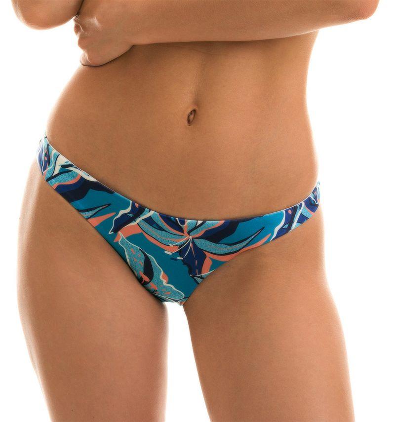 Blue and pink printed fixed bikini bottom - BOTTOM LILLY BANDEAU