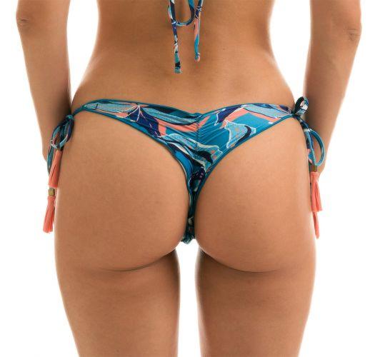 Pink and blue print side-tie scrunch thong bikini bottom - BOTTOM LILLY FRUFRU MICRO