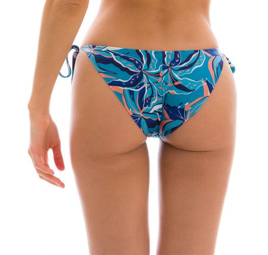 Blue & pink printed moderate cover bikini bottoms - BOTTOM LILLY TRI ARG COMFORT