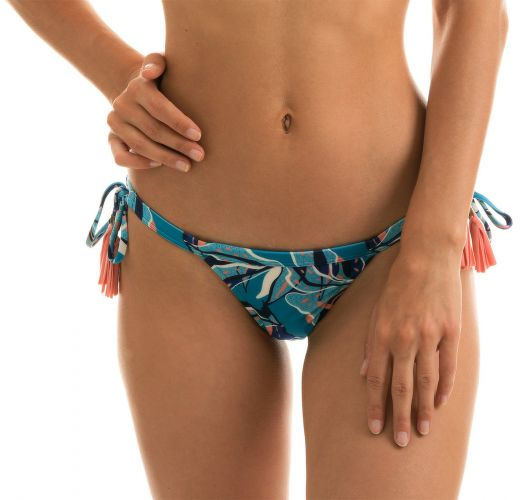 Blue and pink printed side-tie bikini bottom with pompoms - BOTTOM LILLY TRI FIXO
