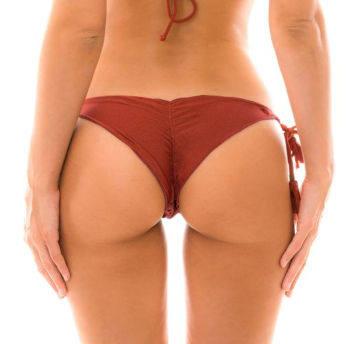 Burgundy scrunch side-tie bikini bottom - BOTTOM LIQUOR FRUFRU