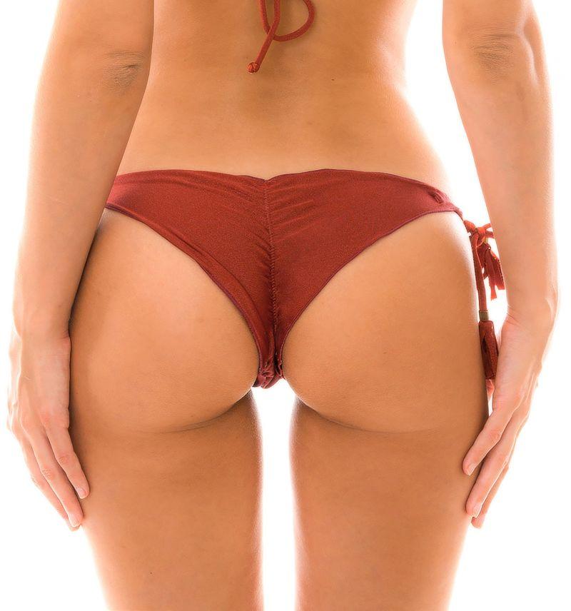 Burgundy scrunch side-tie bikini bottom - BOTTOM LIQUOR FRUFRU
