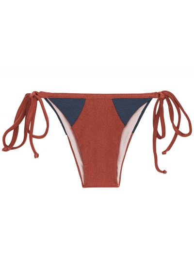 Burgundy / blue textured side-tie bikini bottom - BOTTOM LIQUOR RECORTE TRI