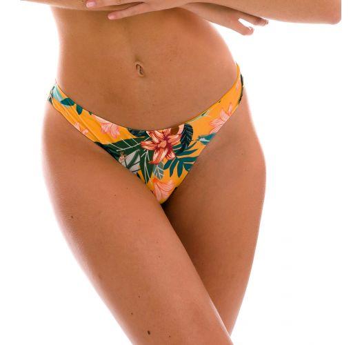 Orange yellow fixed scrunch bikini bottom in floral print - BOTTOM LIS NICE