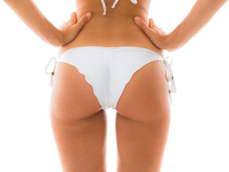 White side-tie scrunch Brazilian bikini bottom - BOTTOM MARRAKESH BRANCO FRUFRU