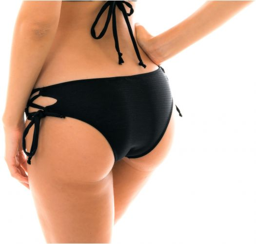 Black Brazilian bikini bottom with laced sides - BOTTOM MARRAKESH PRETO CORTINAO
