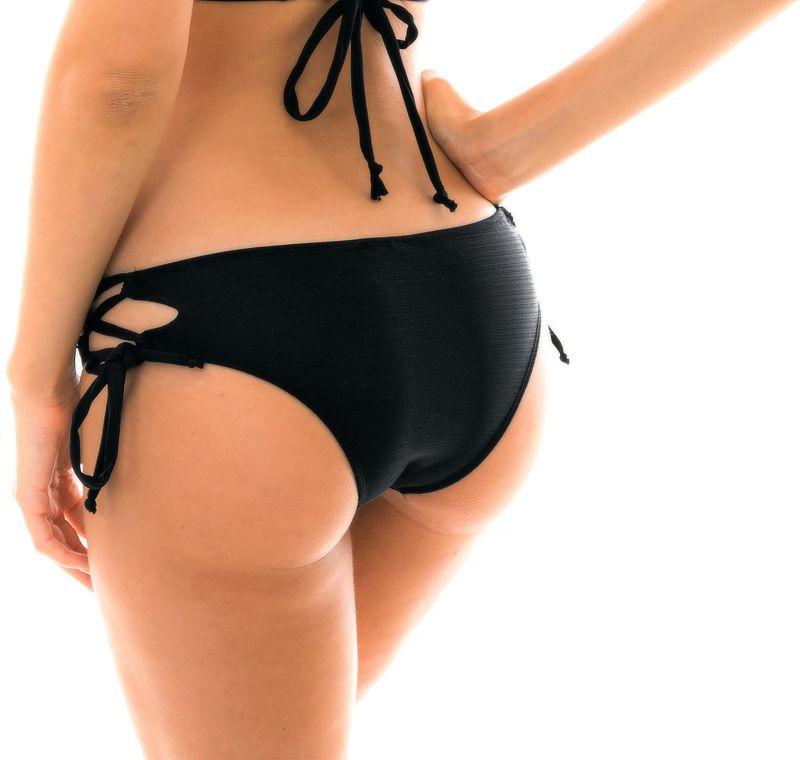 Iriserande svart brasiliansk nederdel med knytband i sidorna - BOTTOM MARRAKESH PRETO CORTINAO