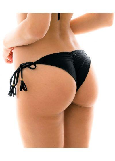 Black scrunch side-tie bikini bottom - BOTTOM MARRAKESH PRETO FRUFRU