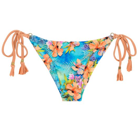 Colorful scrunch side-tie bikini bottom - BOTTOM MAXI FLOWER ARG TRI
