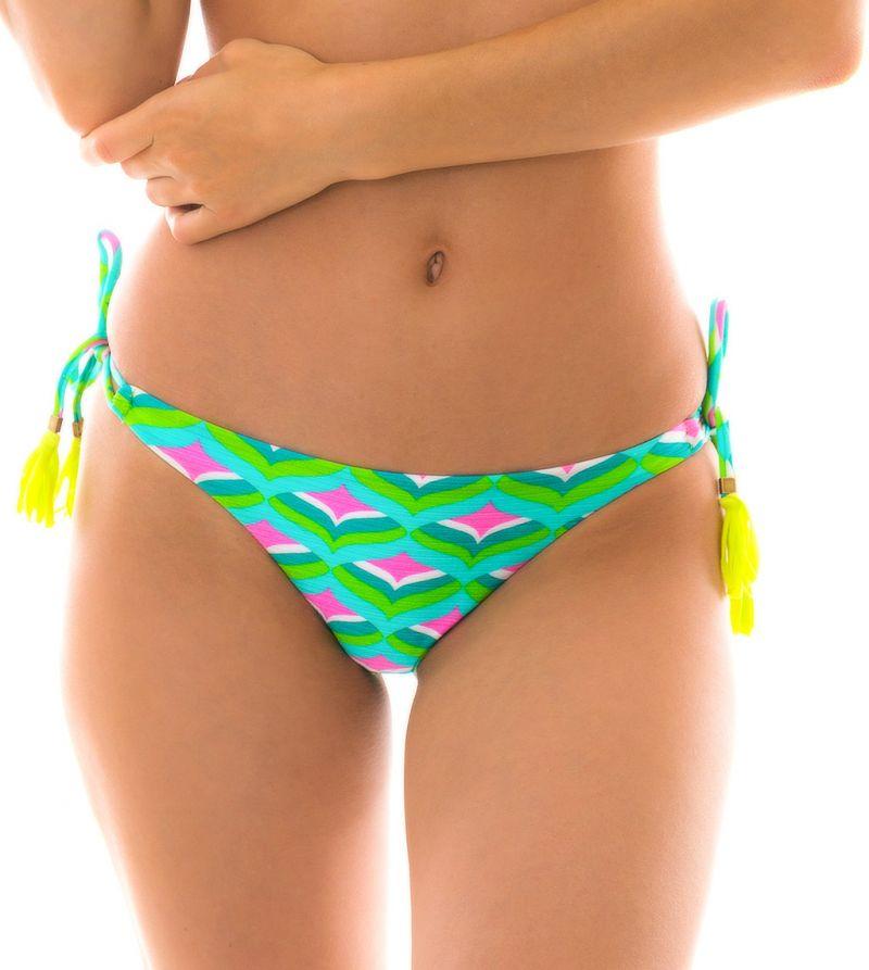 Brasiliansk nederdel med tofsar,grön med grafiskt mönster - BOTTOM MERMAID CORTINAO