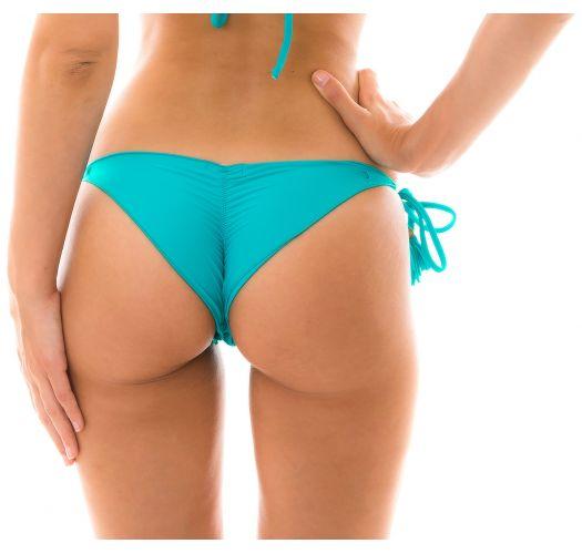 Brasilian Scrunch Bikinihöschen, himmelblau, mit Pompons - BOTTOM NANAI EVA