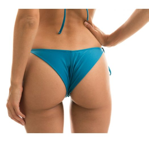 Accessorized blue side-tie scrunch bikini bottom - BOTTOM NILO CORTINAO
