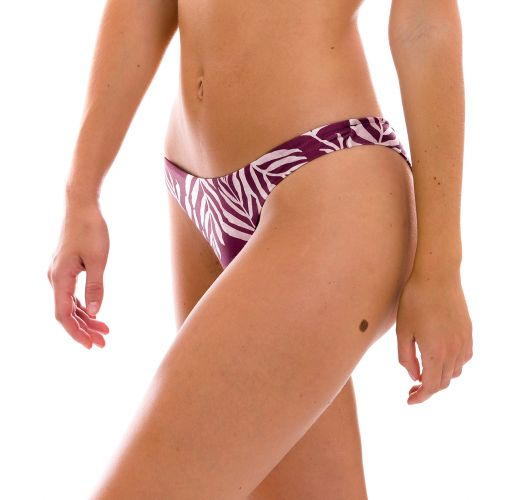 Wine red fixed scrunch bikini bottom in leaves print - BOTTOM PALMS-VINE NICE