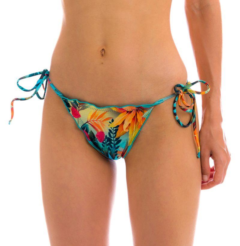 Tropical floral scrunch bikini bottom with wavy edges - BOTTOM PARADISE FRUFRU