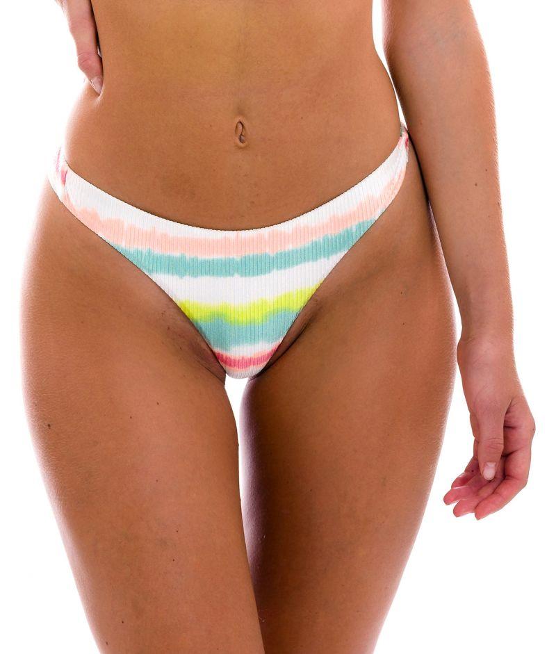 Tie-dye stripe fixed thong bikini bottom - BOTTOM REVELRY FIO