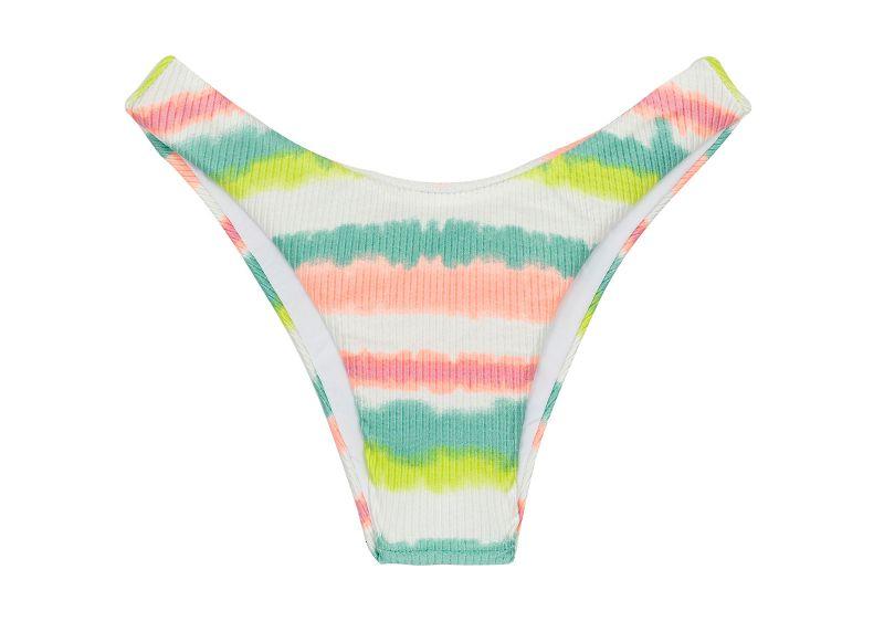 Tie-dye stripe high leg Brazilian bikini bottom - BOTTOM REVELRY HIGH-LEG