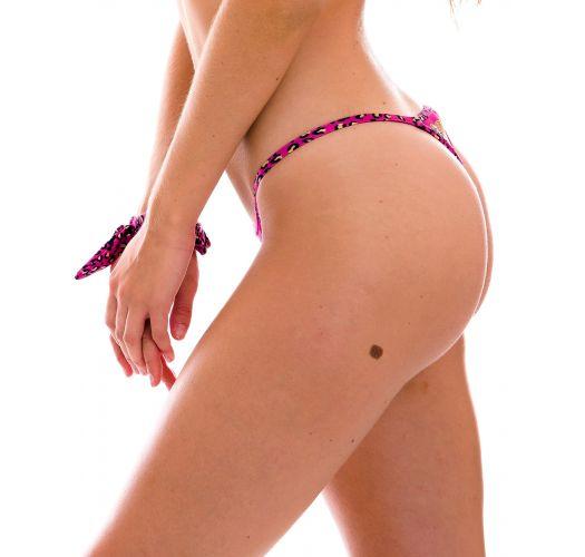 Braguita brasileña de bikini con tiras finas y estampado de leopardo rosa - BOTTOM ROAR-PINK CALIFORNIA