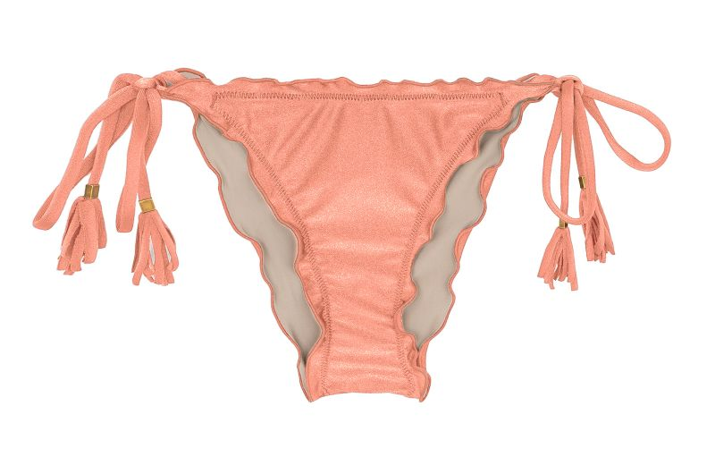 Peach pink scrunch side-tie bikini bottom - BOTTOM ROSE FRUFRU