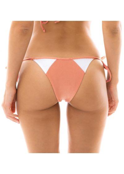 Peach and white textured side-tie bikini bottom - BOTTOM ROSE RECORTE TRI