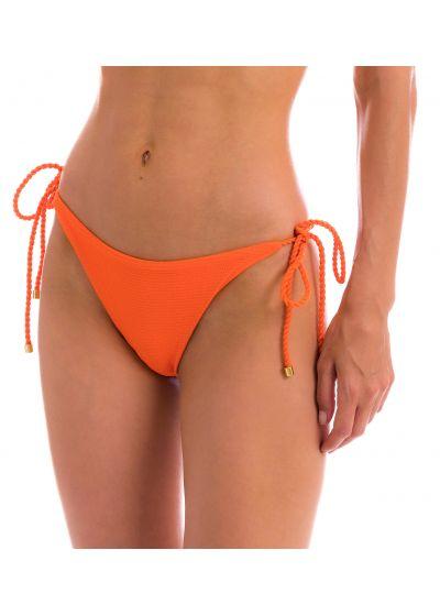 Orange textured Brazilian bikini bottom with twisted ties - BOTTOM ST-TROPEZ-TANGERINA IBIZA