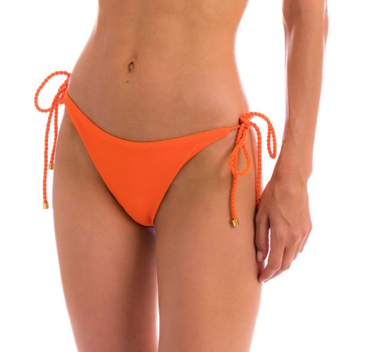 Orange textured Brazilian bikini bottom with twisted ties - BOTTOM ST-TROPEZ-TANGERINA IBIZA
