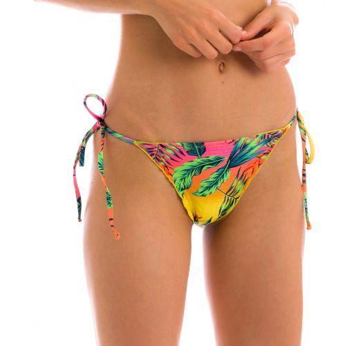 Multicolored tropical scrunch bikini bottom with wavy edges - BOTTOM SUN-SATION FRUFRU