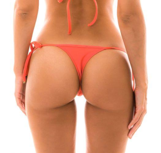 Salmon pink side-tie string bikini bottom - BOTTOM TABATA MICRO