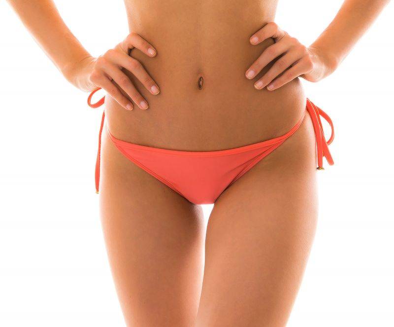 Salmon pink side-tie Brazilian bikini bottom - BOTTOM TABATA TRI