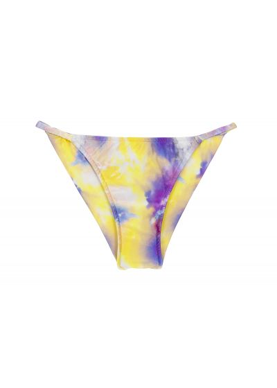 Purple & yellow tie-dye cheeky bikini bottom with thin sides - BOTTOM TIEDYE-PURPLE CHEEKY-FIXA