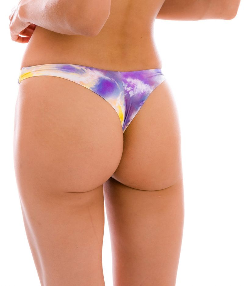 Purple & yellow tie-dye thong bikini bottom - BOTTOM TIEDYE-PURPLE FIO