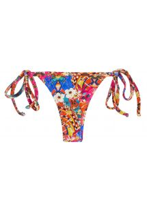 Colorful side-tie string bikini bottom - BOTTOM TRI MICRO FLOWER HORTENSIA
