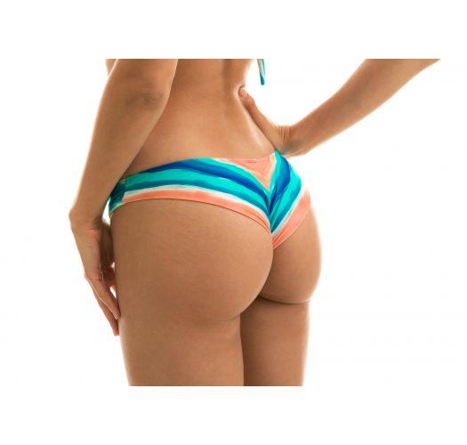 Blau/korallenrote feste Scrunch-Bikinihose - BOTTOM UPBEAT BANDEAU