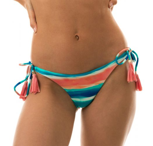 Blue & coral side-tied bikini bottom - BOTTOM UPBEAT INV COMFORT
