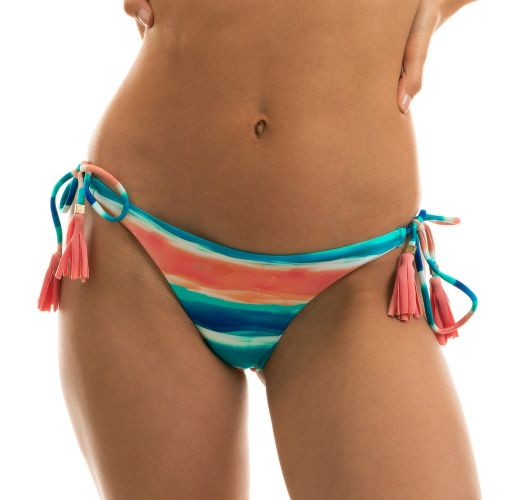 Blue and coral Brazilian scrunch bikini bottom with pompoms - BOTTOM UPBEAT INVISIBLE
