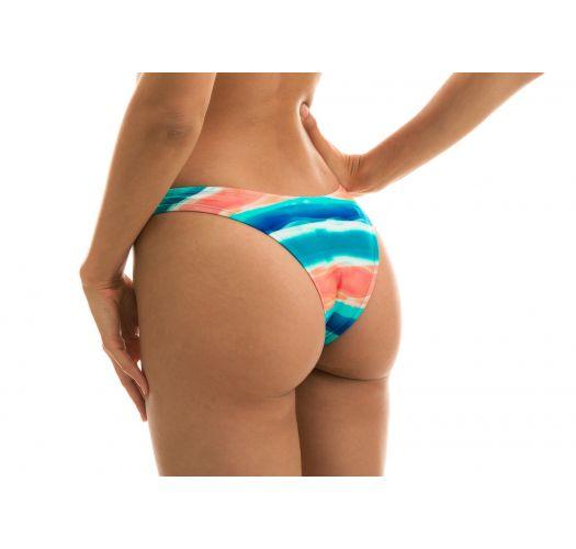Blau/korallenrote feste High Leg-Bikinihose - BOTTOM UPBEAT RETO