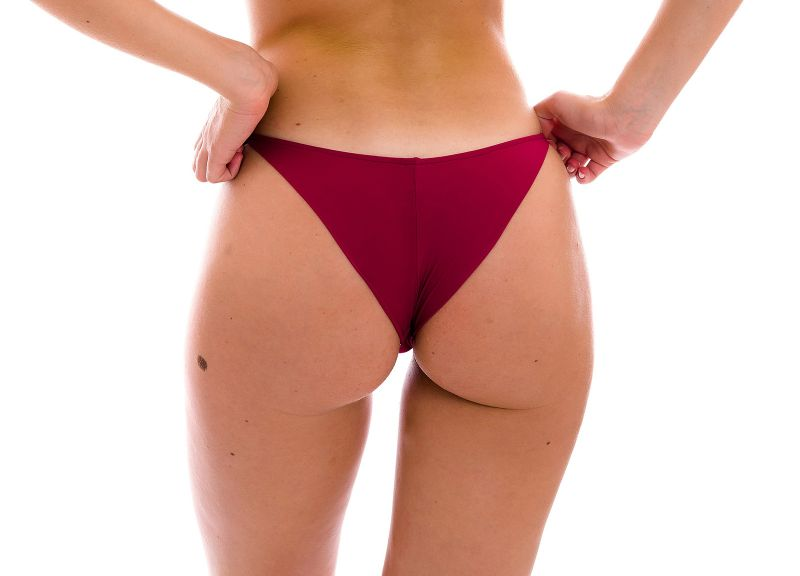 Garnet red cheeky Brazilian bikini bottom with thin sides - BOTTOM UV-DESEJO CHEEKY-FIXA