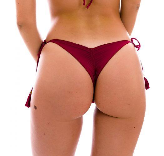 Garnet red scrunch thong bikini bottom with wavy edges - BOTTOM UV-DESEJO FRUFRU-FIO