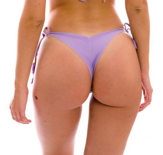 Lilac scrunch thong bikini bottom with wavy edges - BOTTOM UV-HARMONIA FRUFRU-FIO