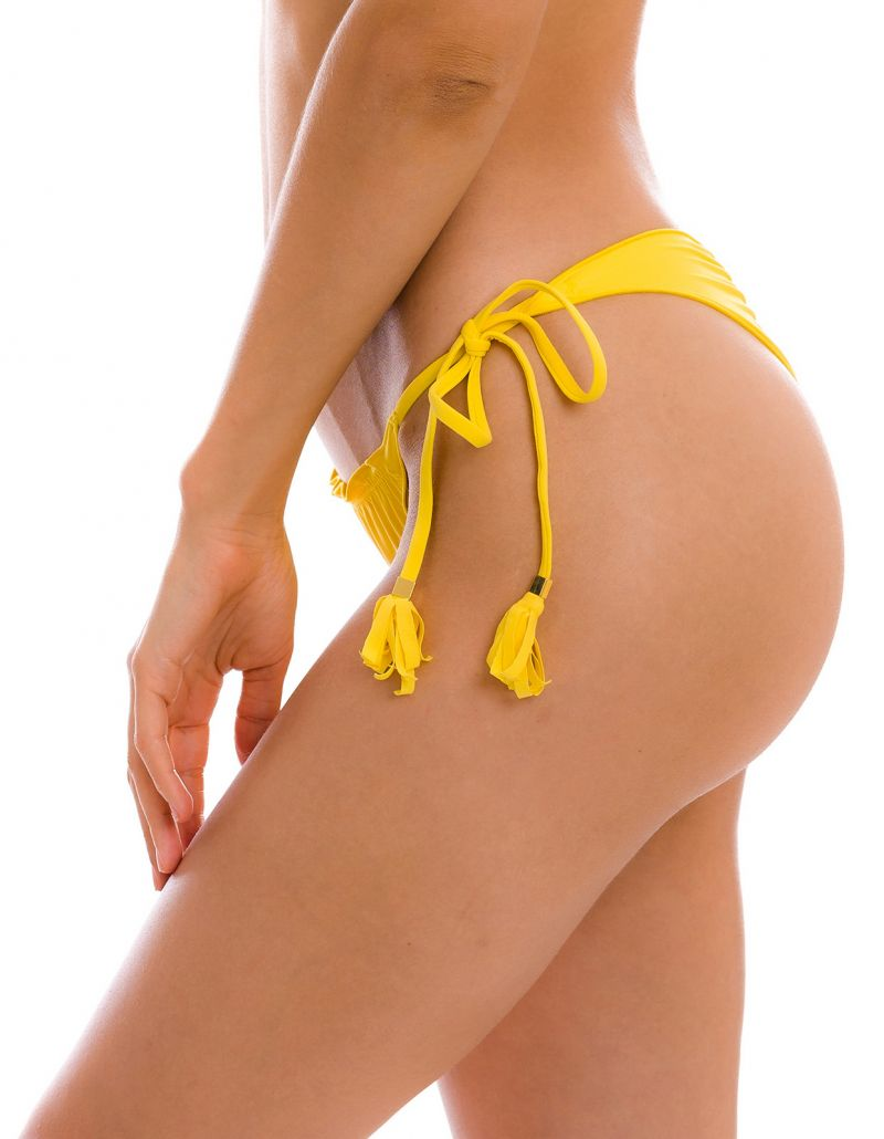 Yellow scrunch thong bikini bottom with wavy edges - BOTTOM UV-MELON FRUFRU-FIO