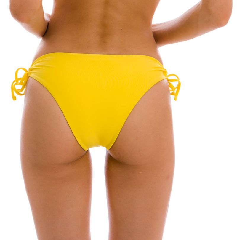 Yellow Brazilian bikini bottom with double side tie - BOTTOM UV-MELON MADRID