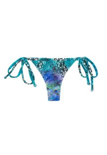 Blue side tie string bikini bottom with peacock print - BOTTOM VIOLINA MICRO