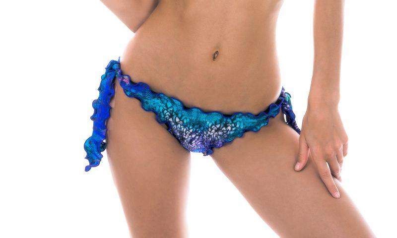 Blue bikini bottom with wavy edges and peacock print - BOTTOM VIOLINA OFF SHOULDER