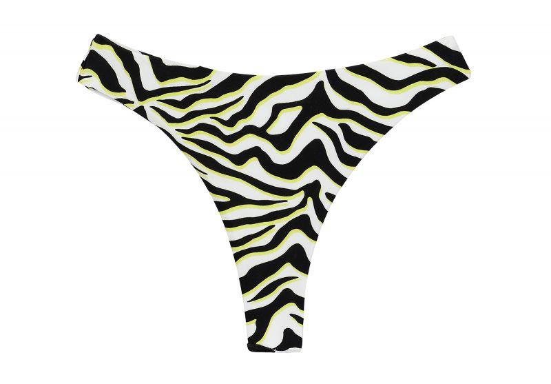 Black & white tiger print thong bikini bottom - BOTTOM WILD-BLACK FIO
