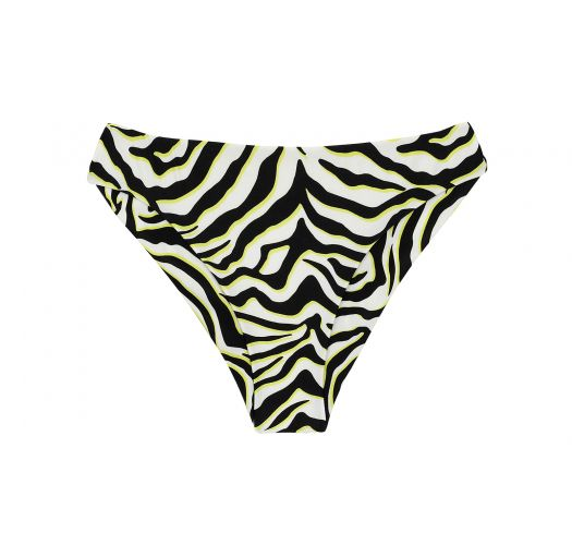 White & black tabby scrunch fixed Brazilian bikini bottom - BOTTOM WILD-BLACK NICE