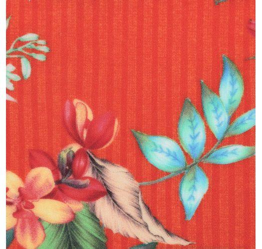 Braguita de bikini brasileña fija floral roja - BOTTOM WILDFLOWERS CALIFORNIA