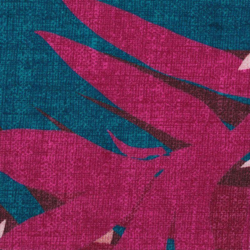 Pink & blue cheeky Brazilian bikini bottom with leaf print - BOTTOM YUCCA CHEEKY-FIXA