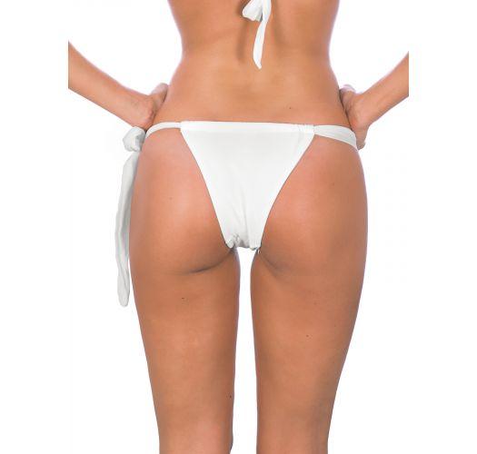 White sliding tie-side bikini bottom - BRANCO LACE