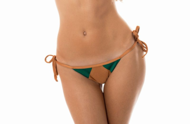 Green/copper colour dual fabric Brazilian bottom - CALCINHA  COPPER GREEN